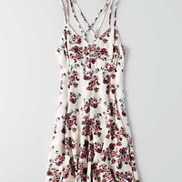 AEO Printed Strappy Dress, Cream
