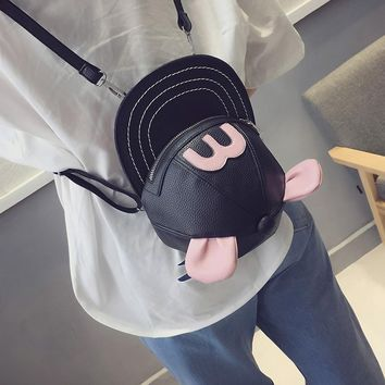 Women lovely mickey mouse ears pink black hat style novetly mini backpack ladies small shoulder daypack Pu leather college