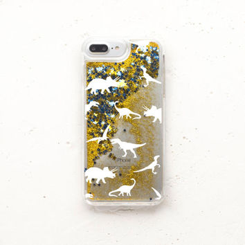 Glitter Phone Case Dinosaur iPhone 6s Plus Case Liquid Glitter iPhone Case Dino iPhone 5 Case iPhone SE Case iPhone 7 Case iPhone 5s g008
