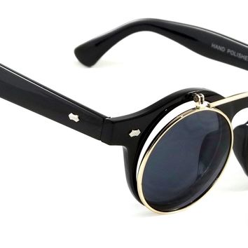 Retro Classic Sunglasses Flip Up Crestline Style Men Women Smoke Lens Round Frame