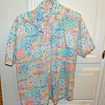 1980s colorful watercolor button up shirt