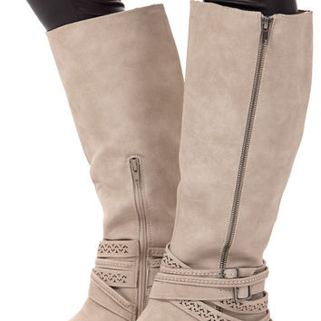 Cream Leather Strappy Cutout Boot
