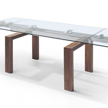 "Davy Extendable Dining Table 1/2"" tempered glass top solid wood with walnut veneer base"