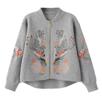 Grey Embroidery Long Sleeve Knitted Cardigan