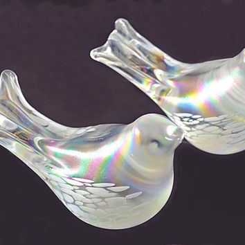 Art Glass Birds, Iridescent Glass Birds, Blown Glass Doves