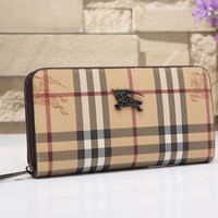 Burberry Women Tartan Leather Buckle Wallet Purse