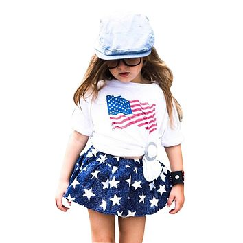 Little Girl 4th of July Outfit Stars and Stripes -  Patriotic Shirt and Skirt Outfit