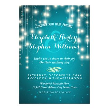 Turquoise String Lights Wedding Shower Invitations