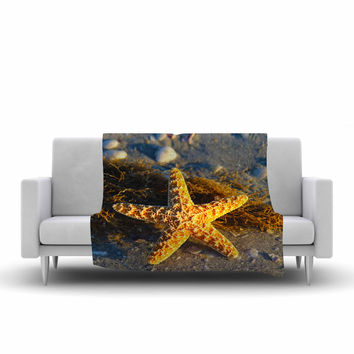 "Philip Brown ""Starfish"" Coral Gold Fleece Throw Blanket"