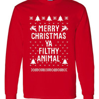 Ugly Christmas SWEATSHIRT Crew Neck Red Merry Christmas Ya Filthy Animal Hilarious SWEATSHIRT For Holidays More Colors Coming Sizes S-3XL