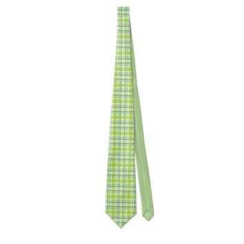 Green Plaid. Neck Tie