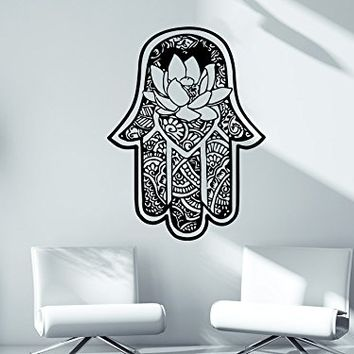 Wall decal vinyl sticker decals hamsa hand lotus flower yoga namaste indian ornament fatima hand wall