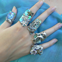 PICK ONE sea life abalone ring sea turtle mermaid dolphins starfish seahorse nautical boho gypsy beach resort high fashion gypsy hipster