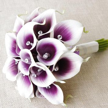 Artificial calla lilies wedding bouquets purple wedding party flowers wedding flowers crystal bridal bouquets buque de noiva