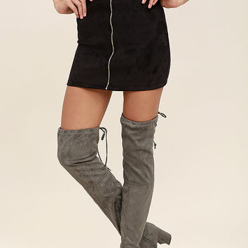 Anita Grey Suede Over the Knee Boots