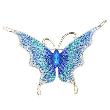 EVER FAITH Womens Austrian Crystal Butterfly Insect Brooch