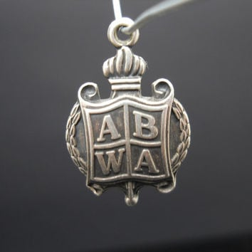 ABWA Logo Wreath Torch Charm Sterling Silver American Business Womens Association 925 Vintage