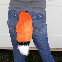 Orange Fox Tail Faux Fur Multicolored with Clasp