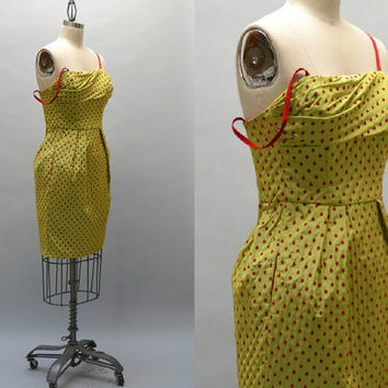 Moschino Cheap and Chic Dress - Vintage 50s Style Polka Dot Draped Bodice Dress with Side Pockets and Grosgrain Straps Prom Party Cocktail