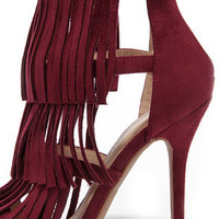 Gypsy Queen Oxblood Suede Fringe Dress Sandals