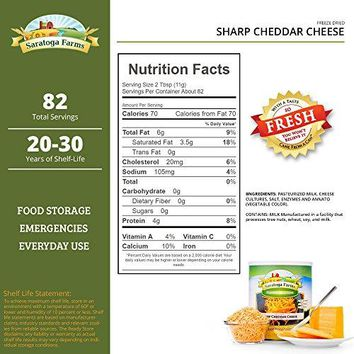 Saratoga Farms Freeze Dried Sharp Cheddar Cheese, #10 Can, 1lb 16oz (907g), 82 Total Servings, Food Storage, Camping Food, No Refrigeration Required, Every Day Use