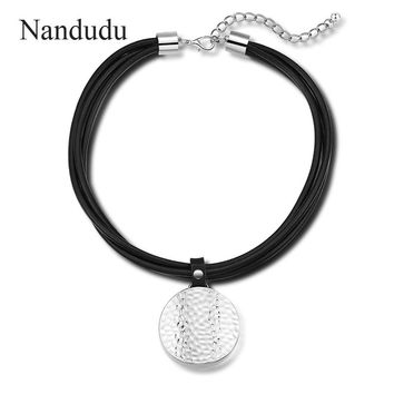 Nandudu Big Round Metal Pendant Necklace Choker Punk Design Hyperbole Necklaces with Black Leather Chain For Women Gift CN367