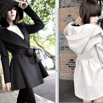 Womens Slim WOOL Trench Coat Parka Jacket S-XL = 1930097412