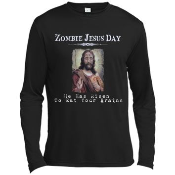 Funny Zombie Jesus Day He Has Risen Sarcastic Easter T-Shirt Long Sleeve Moisture Absorbing Shirt