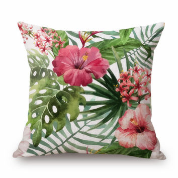 Home Decorative Pillow Almofada Cojines High Quality Linen Cotton Flamingo Parrot Pillow Lily Flowers Birds Cushion MYJ 1281