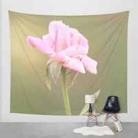 Art Tapestry Wall Hanging Roses 1 Photography Unique home decor pink flower photo photograph tan olive green yellow bokeh petals bud floral
