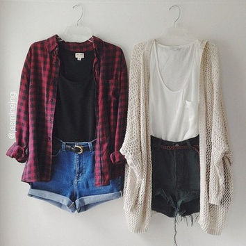 Hipster Grunge Mystery Outfit/Sweater/Flannel/High Waisted Shorts/Leggings/Cardigan