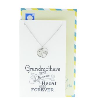 Feena Angel Heart Necklace Gifts for Grandma Quotes Jewelry Greeting Cards