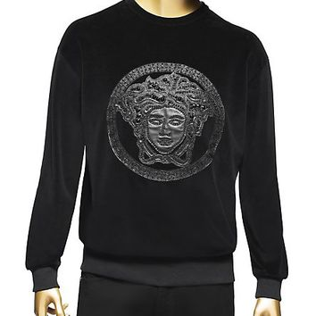 Versace - Medusa leather-appliqué jumper