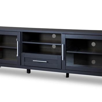 Baxton Studio Espresso TV Stand—One Drawer Set of 1