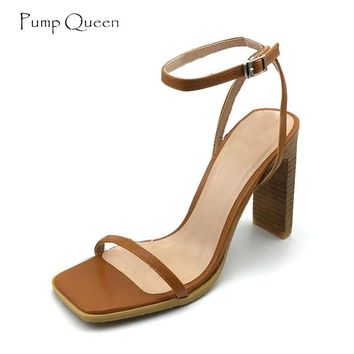 PumpQueen High Heels Sandals Women Shoes Woman Sandals 2018 Summer Ladies Shoes Elegant Sandalia Feminina Ankle Strap 10CM Heels