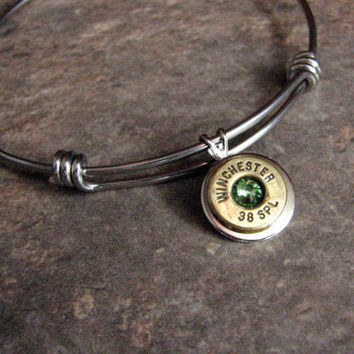 Silver Adjustable Bangle Bracelet- Bullet Bangle- Personalized- Birthstone- Charm Bracelet- Alex and Ani- Stainless Steel- Ammo Jewelry
