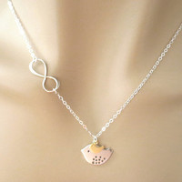 Mother and daughter, infinity necklace, mom and daughter necklace, infinity bird necklace, mom and baby bird, jewelry, christmas necklace