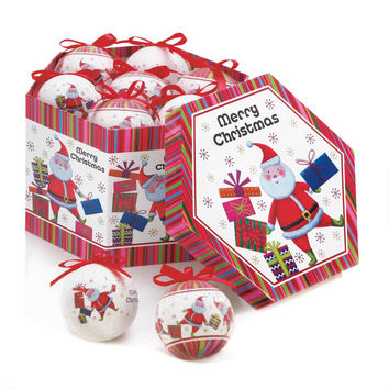 Jolly Santa Ornament Box Set