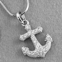 DianaL Boutique Silver Tone Clear Crystals Anchor Charm Pendant Necklace Rhodium Plated Gift Boxed