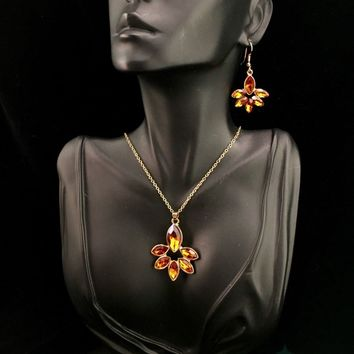 Topaz Crystal Necklace & Earring Set