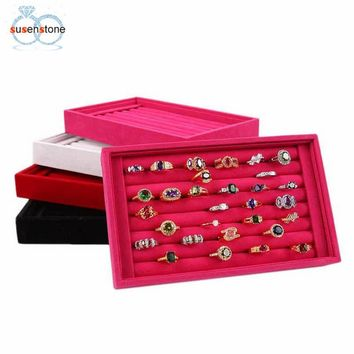 SUSENSTONE Full Velvet Ring Box Jewelry Box Earrings Ring Jewelry Box Tray Box