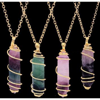 Rainbow Wire Wrapped Fluorite Stone Pendant Necklace