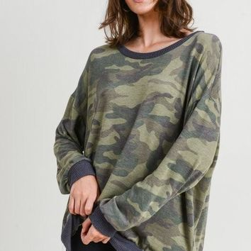 Camo Long Sleeve Pullover Top in OLIVE