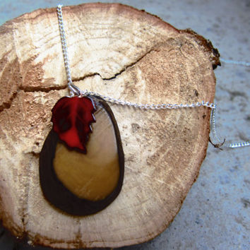 Leaf Charm Necklace Long necklace red brown and by AutumnAndAmber