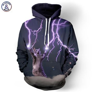 Unisex 3D Digital Lightning Cat Print O-Neck Long Sleeve Hoodie S-XXXL