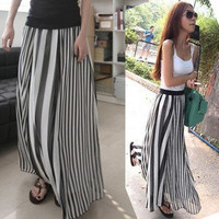 New Womens Girls Maxi Long Skirt Underdress Vertical Stripes Casual Chiffon Hot