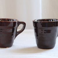 Vintage  Brown Drip Glaze Pottery Marcrest Mugs Set of 2