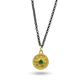 Granulated Disc with a Brilliant Emerald Gemstone and an Oxidized Silver Chain