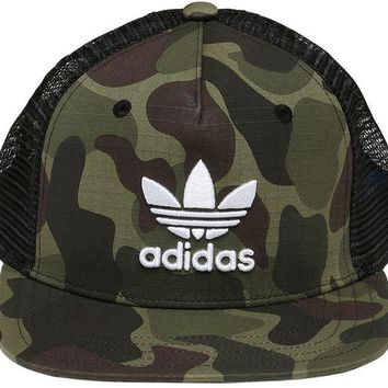 NEW RETRO ADIDAS ORIGINAL SUPERSTAR TRUCKER CAP HAT CAMO FLAT 1 SIZE FITS ALL