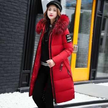 2019 Women's Down Parkas Winter Jacket Big Fur Collar Thick Slim Coat Fashion Hooded Cotton Outerwear Long Winter Woman Coat